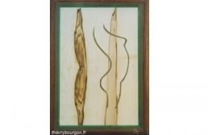 Ligne de courbure de femme vue de côté avec des tons verts