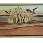 Envol d'oies sauvages sur un marais avec roseaux