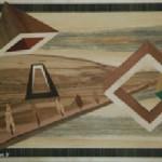 Pespective de pyramide, cube, rectangle, flute avec arbres flottant dans l'espace où les perspectives sortent de l'oeuvre
