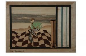 Un danseur sur un sol flottant de damiers avec sur la droite un pilone sortat de l'oeuvre