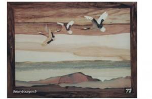 Trois oies sauvages traversent au dessus des montagnes avec des nuages très bas