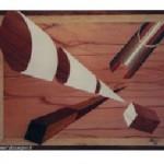 Perspective d'un tuyau, d'un cône, d'un cube et d'un rtangle en pointe