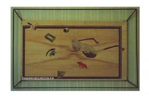 Un oeil, un nez, des lèvres, une paire de lunette, une pyramide, un cube sont disséminés dans le tableau. Un oiseau sort de l'œuvre.