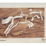 Marqueterie représentant les lignes d'un cheval sautant un obstacle